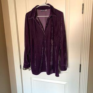Croft&Barrow Purple Velvet Long Sleeve Shirt